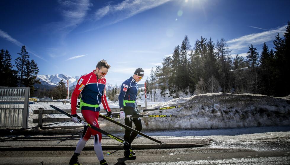 PÅ TUR: Forrige gang Emil Iversen og Johannes Høsflot Klæbo ruslet på tur sammen var på slutten av 3-mila på lørdag. Men var det pinlig? FOTO: Bjørn Langsem/Dagbladet.