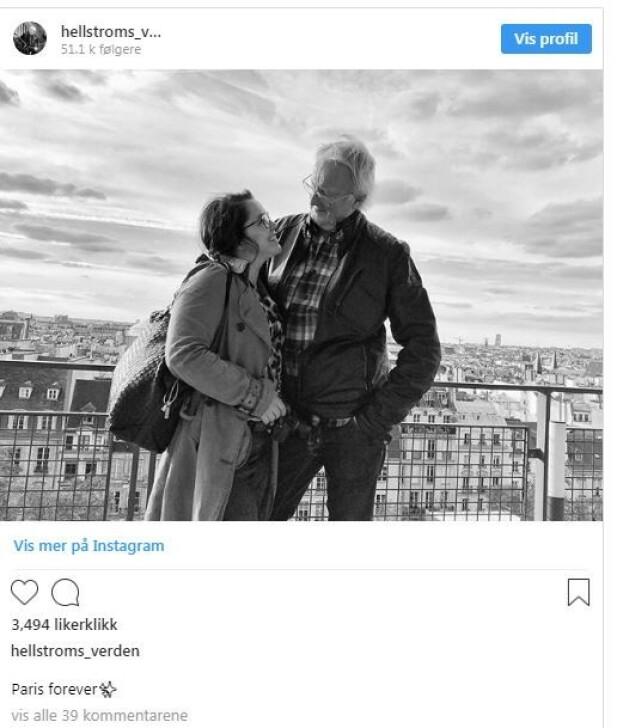 FAVORITTBY: - Paris forever, har Eyvind Hellstrøm skrevet som tekst til bildet av seg og kjæresten Anita Rennan i Paris høsten 2018. Foto: Hellstrøms verden/Instagram
