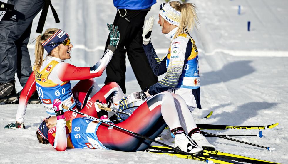 FORVANDLING: Therese Johaug har gjort sin tidligere svakhet til sin styrke - og avgjorde gullduellen mot Frida Karlsson i stakepartiene. Foto: Bjørn Langsem / Dagbladet