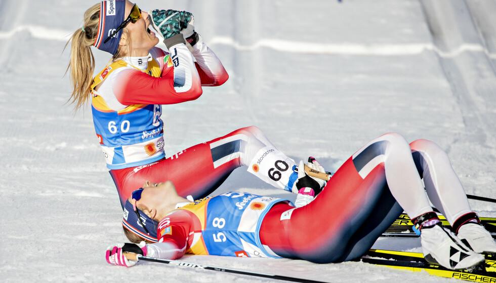 TOK UT ALT: Therese Johaug måtte gi alt til målstreken for å ta knekken på Frida Karlsson. Foto: Bjørn Langsem / Dagbladet