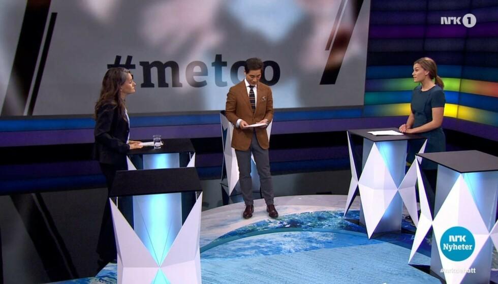 DEBATTEN: VGs Hanne Skartveit stilte i «Debatten» tirsdag kveld. Her uttalte hun at VGs første sak om Giske aldri skulle vært publisert. Foto: Skjermdump NRK
