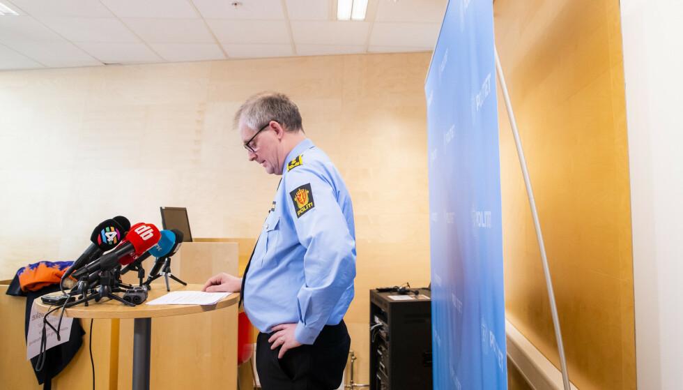 INFORMERTE: Politiinspektør Tommy Brøske i Øst politidistrikt holdt i dag en pressebrief. Foto: Håkon Mosvold Larsen / NTB scanpix