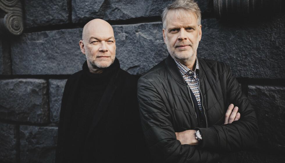 KRIMDUO: Manusforfatterene Michael Hjorth (t.v) og Hans Rosenfeldt (t.h) debuterte med romanen «Mannen som ikke var morder» (2010). Foto: Salomonsson agency
