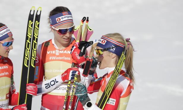 SLET: Astrid Urenholdt Jacobsen klarte ikke å holde følge med Charlotte Kalla på tredje etappe. Foto: Bjørn Langsem