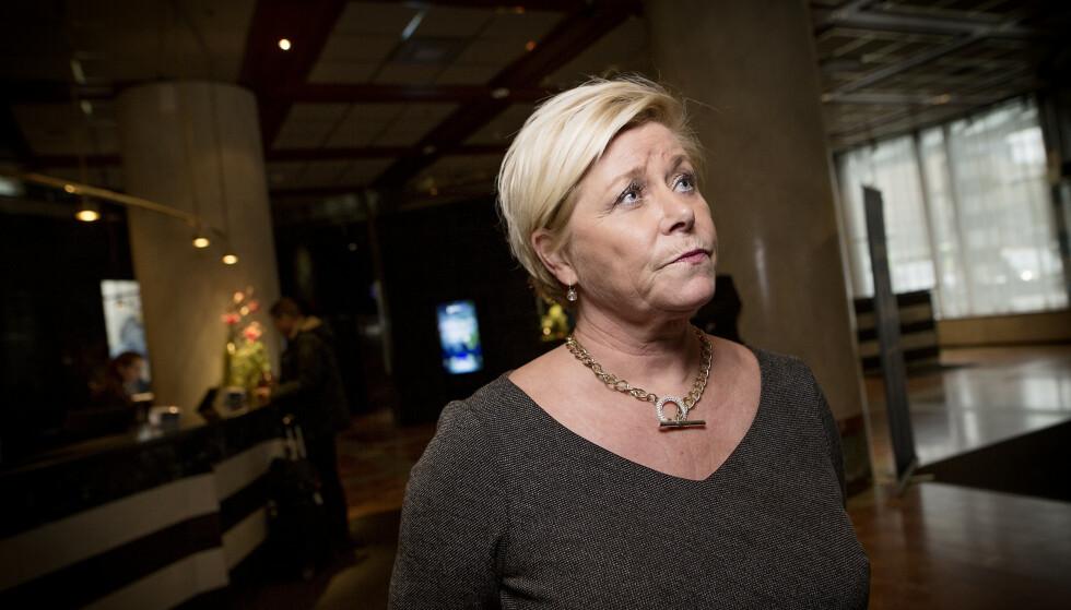 SIV JENSEN: Finansministeren sier at innvanding er hovedårsaken til barnefattigdom, og anklager venstresiden for snillisme. Foto: Anita Arntzen / Dagbladet