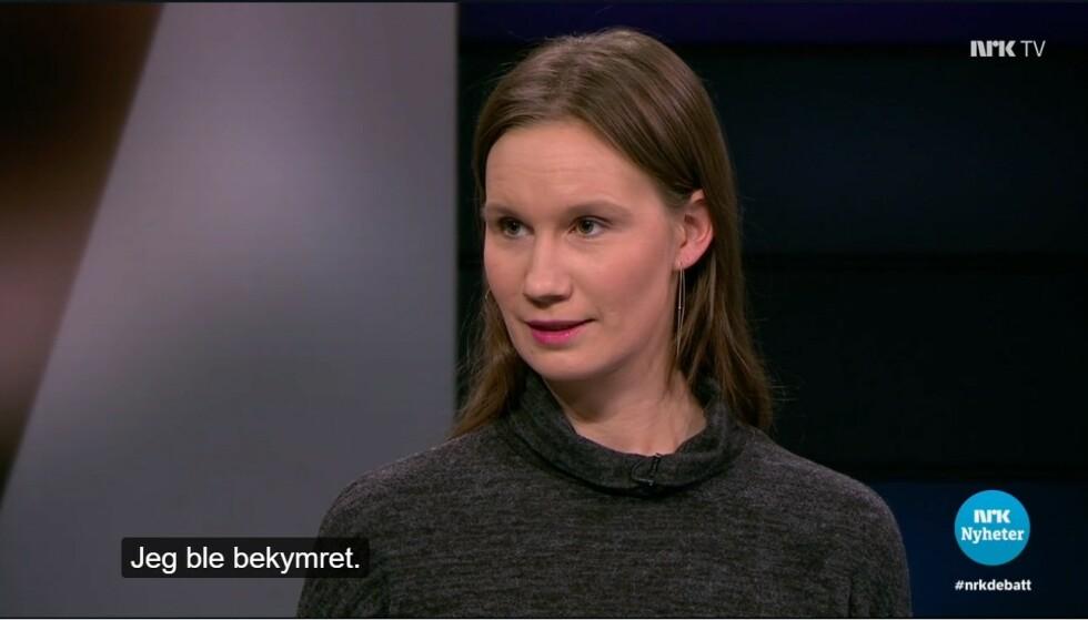 KRITISK: Varsler Sunniva Andreassen mener mennene fikk for stor plass i NRK-debatten 26. februar. Foto: NRK
