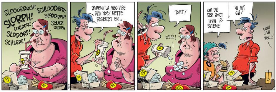 Den siste Pondus: Dagbladet hadde denne stripen på trykk 22. februar. Det er den siste stripen Pondus selv er med i.