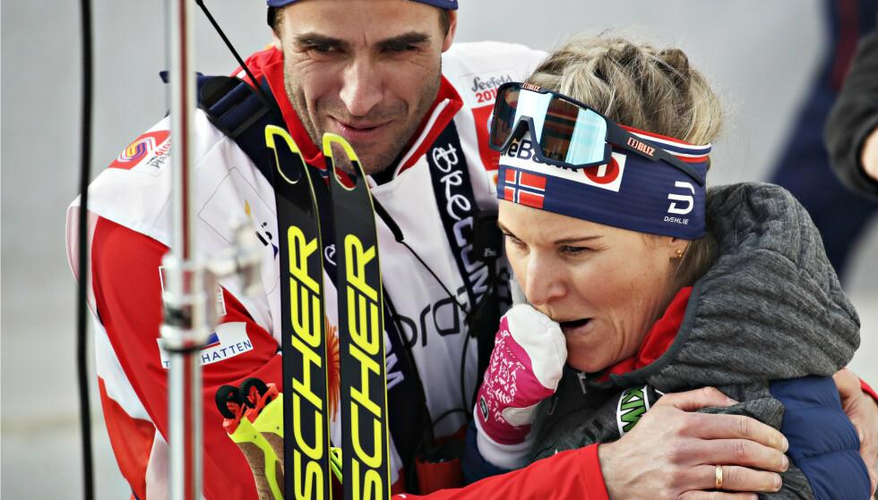 RØRT: Det var rørende å se en rørt Mari Eide ta bronse under sprinten i Seefeld forrige uke. Foto: NTB scanpix