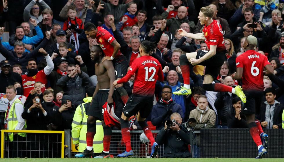 FEIRET: Romelu Lukaku sikret tre poeng for Manchester United. Foto: NTB Scanpix