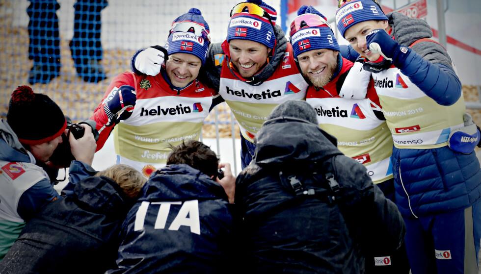 SNYTT: Totalt ti norske langrennsløpere er snytt for verdenscupseirer, pallplasser, VM-medaljer og premiepenger av Aleksej Poltoranin. Tre av dem er på dette bildet. Foto: Bjørn Langsem / Dagbladet