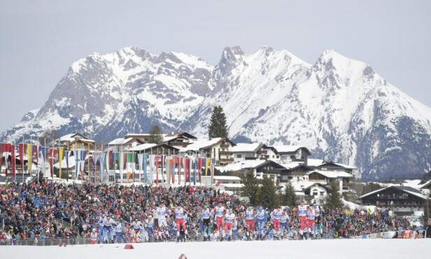FOLKEFEST: Ski-VM i Seefeld tiltrakk seg 204 400 tilskuere. At været viste seg fra sin beste side under omtrent hele mesterskapet hjalp på. Foto: Bjørn Langsem / Dagbladet