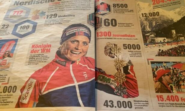 VM-DRONNING: Kronen Zeitung hyller Therese Johaug og Norge i mandagens papiravis. Johaug gikk inn til tre av fire mulige gull. Foto: Tore Ulrik Bratland