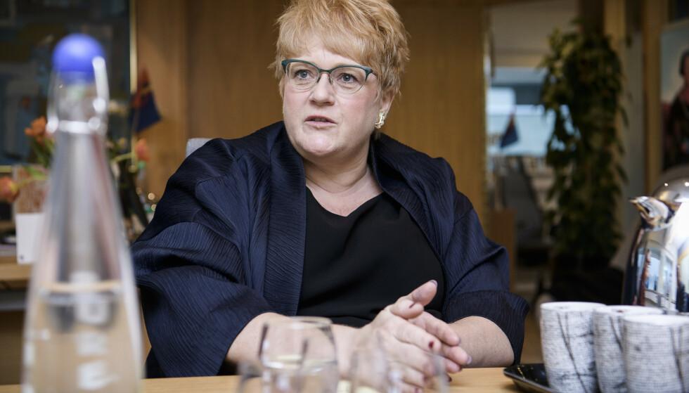 VIL BRUSE MER: Trine Skei Grande må stadig svare på spørsmål om hennes framtid som partileder for et Venstre som stabilt ligger på 2-tallet på målingene. Foto: Lars Eivind Bones / Dagbladet