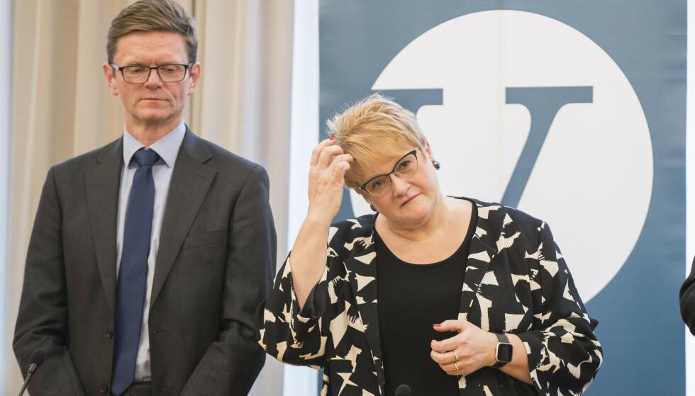 I knipe: Venstres pressekonferanse før landsmøte med leder Trine Skei Grande og Terje Breivik (t.v) Foto: Vidar Ruud / NTB scanpix