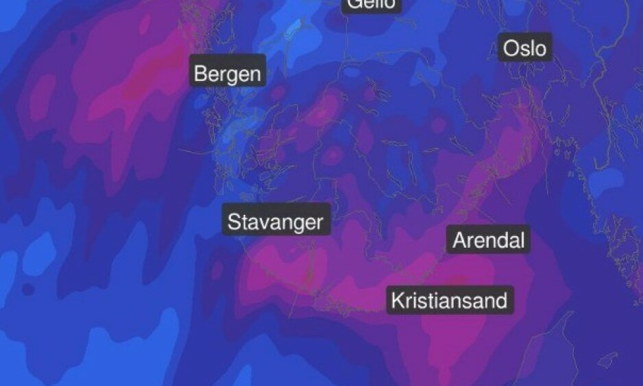 NEDBØR: Nå kommer regnet, skriver Meteorologene på Twitter: - Det blir mildvær og ventes opp mot 50 millimeter i løpet av halvannet døgn. Foto: Meteorologene / Twitter
