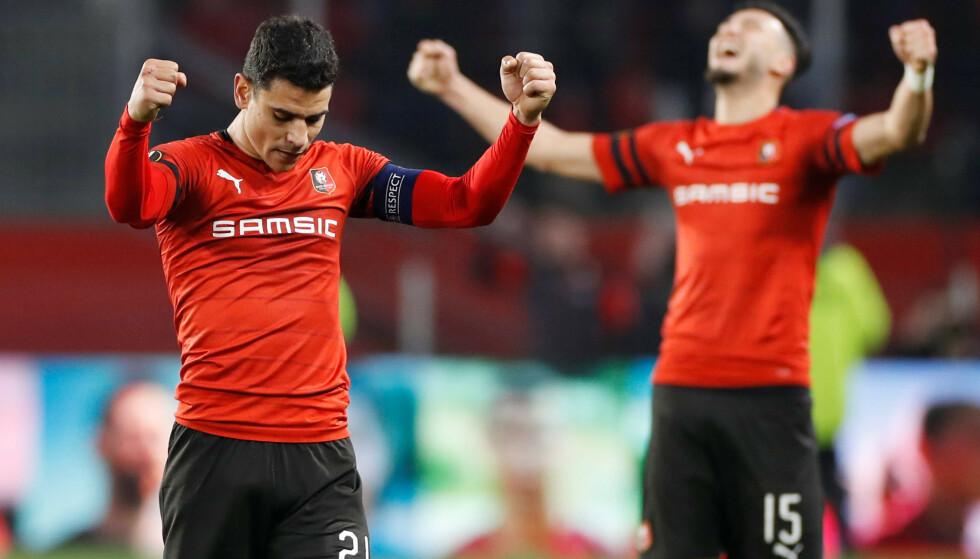SEIER: Benjamin Andre og Ramy Bensebaini jubler for seier mot Arsenal. Reuters/Paul Childs