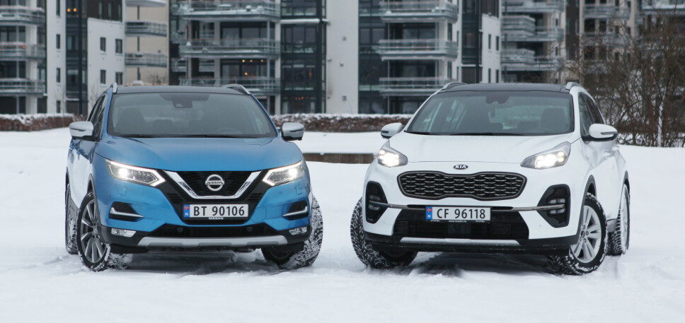 NYE MOTORER: Nissan fjerner firehjulstrekk, Kia kommer endelig med firehjulstrekk på minste motor. Foto: Rune M. Nesheim
