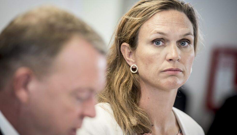 PÅ BESØK: Danmarks utdanningsminister Merete Riisager skal ha blitt kalt «ludder» under et skolebesøk i København torsdag. Foto: Mads Claus Rasmussen / Ritzau Scanpix