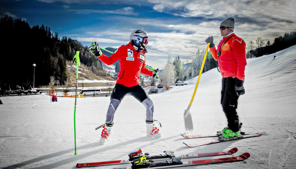 DETALJER, DETALJER: Henrik og Lars Kristoffersen er ute etter optimale treningsforhold hver dag, hele tiden. Her er de på      trening like ved Salzburg denne uka. Foto: Bjørn Langsem