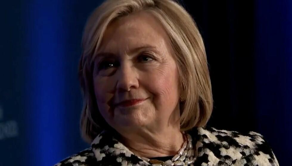 I NORGE: Den tidligere utenriksminister, senator og førstedame Hillary Clinton var fredag i Norge i anledning kvinnedagen, og snakket for studenter på BI. Foto: Scanpix