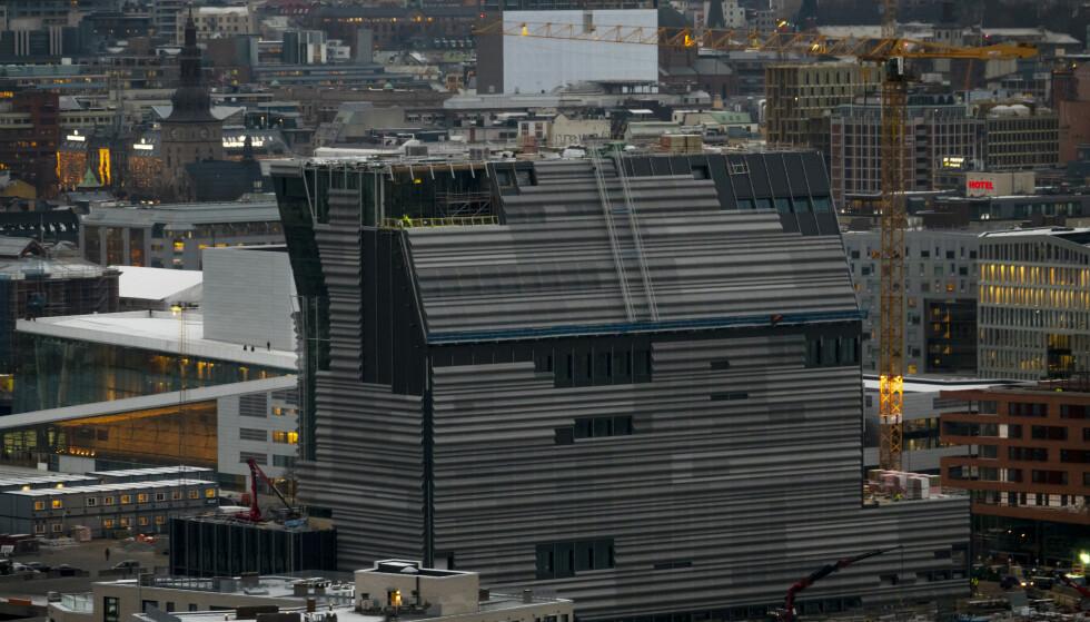 Det nye Munchmuseet: Det nye Munchmuseet i Bjørvika i Oslo, sett fra Ekeberg-restauranten i november 2018. Foto: Heiko Junge / NTB scanpix