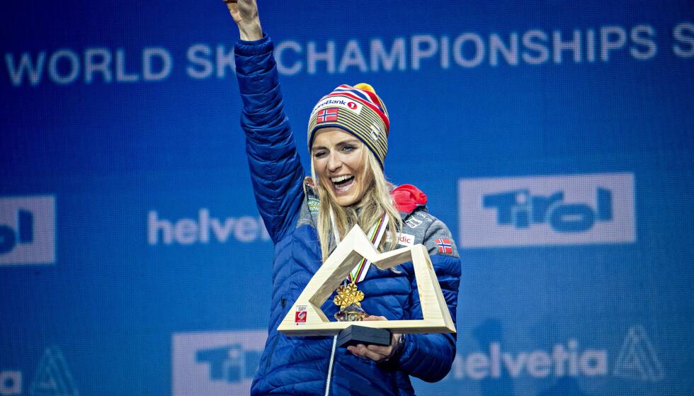 DRONNING: Therese Johaug tok tre VM-gull og ett sølv i Seefeld. Foto: Bjørn Langsem/Dagbladet.