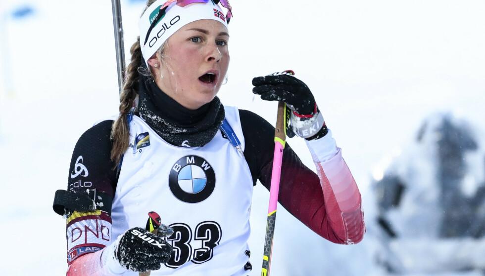 PANGSTART PÅ VM: Ingrid Landmark Tandrevold slo til med ti av ti treff på VM-sprinten i Östersund. Det holdt til et overraskende VM-sølv for 22-åringen. Foto: NTB Scanpix
