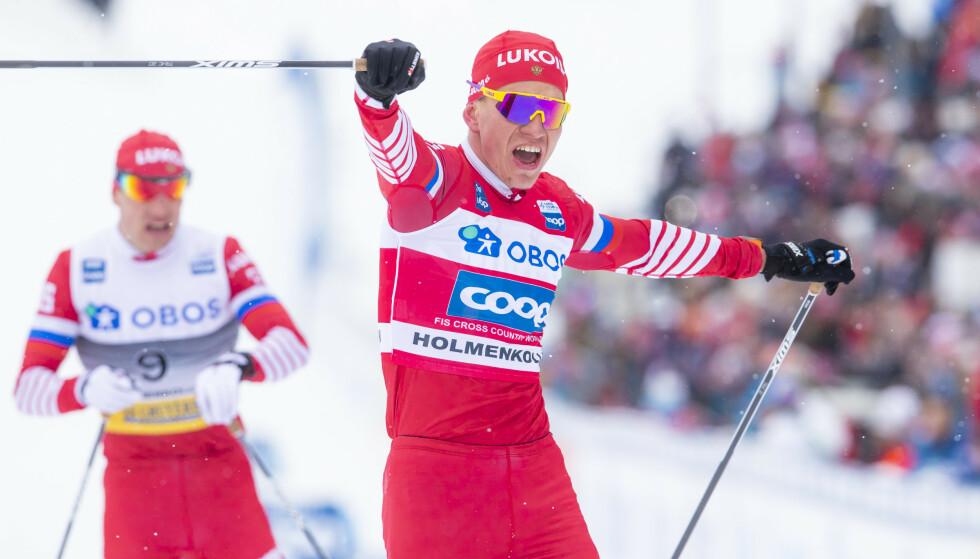 VANT: Aleksandr Bolsjunov jubler for seier i Kollen. Foto: NTB scanpix