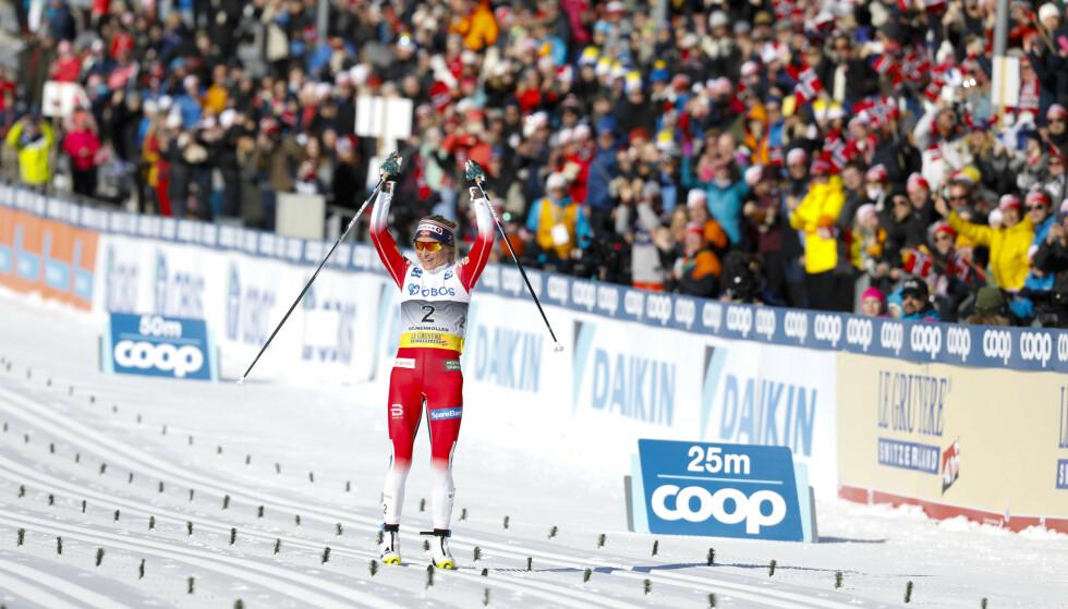 SEIER: Therese Johaug kunne juble for seier i Kollen. Foto: NTB scanpix.