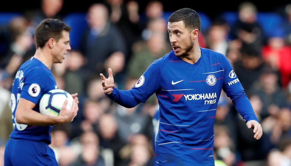 MÅL: Eden Hazard scoret på overtid og reddet ett poeng for Chelsea. Foto: NTB scanpix