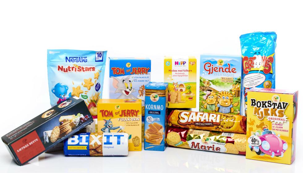 HELSEFARLIG: Tom and Jerry, Mariekjeks og Bixit er blant kjekstypene med aller høyest innhold av det kreftfremkallende stoffet akrylamid, viser en analyse fra Forbrukerrådet. Foto: Forbrukerrådet