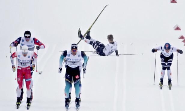FALT: Kasper Stadaas falt på oppløpet i kvartfinalen. Foto: Bjørn Langsem/DAGBLADET.