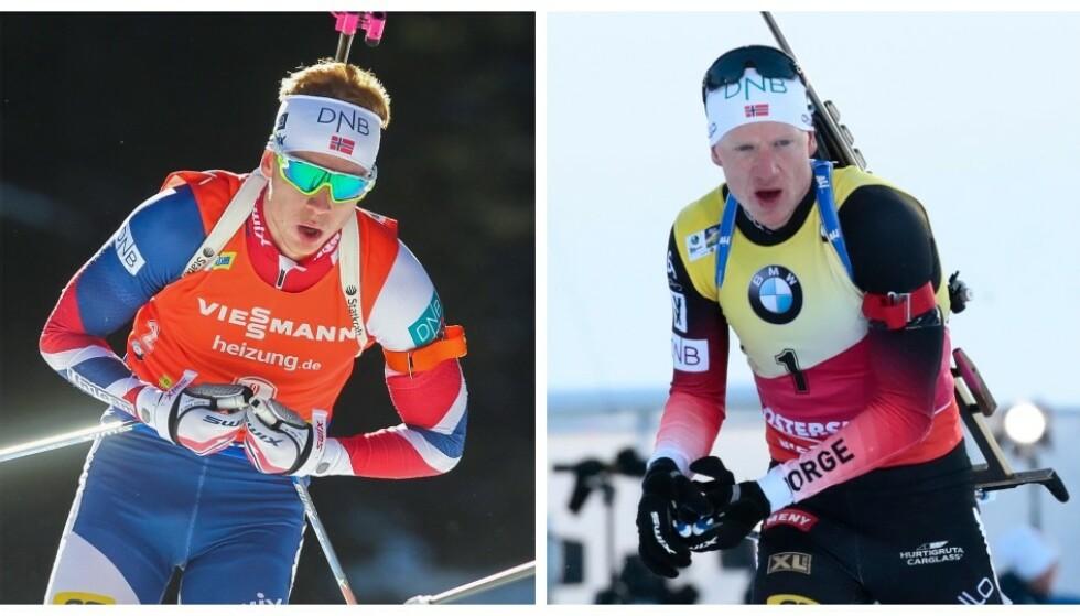 LYNRASK: Johannes Thingnes Bø fra 2016 (t.v.) var ustabil i sporet. Johannes Thingnes Bø i 2019 (t.h.) er nesten alltid raskest. På to-tre år har han hatt enorm framgang. Storebror Tarjei klør seg i hodet. Foto: NTB Scanpix