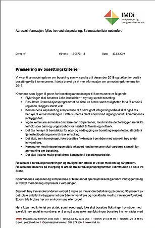 KOM TIL SLUTT: Her er brevet til kommunene som presiserer bosettingskriteriene. Sendt 13. mars.