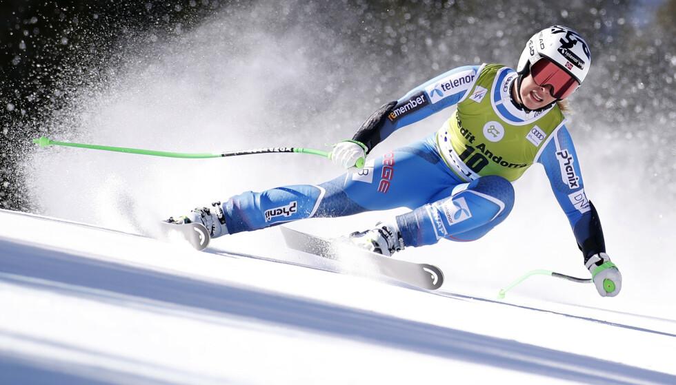HOLDT TIL ÅTTENDEPLASS: Kajsa Vickhoff Lie ble beste norske i verdenscupfinalen i Andorra. Foto: REUTERS/Christian Hartmann/NTB Scanpix