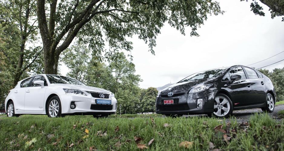 SPENNENDE HYBRIDER: Har du bestemt deg for en hybridbil, så stiller Lexus og Toyota med to spennende kandidater. Vi har testet Lexus CT200H og Toyota Prius mot hverandre, og har kåret en vinner i bruktbil-duellen. Alle foto: Kaj Alver