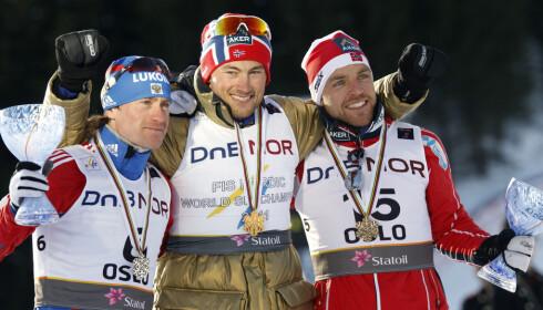 RETT BAK: Tre ganger vant Maksim Vylegzjanin individuelt VM-sølv bak Petter Northug, blant annet to ganger under VM i Holmenkollen i 2011. Foto: NTB Scanpix