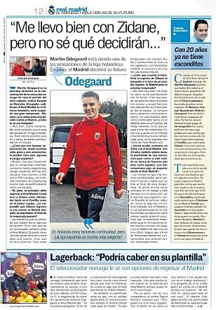 FAKSIMILE: Martin Ødegaard figurerer i overskriftene i den spanske avisa AS torsdag.