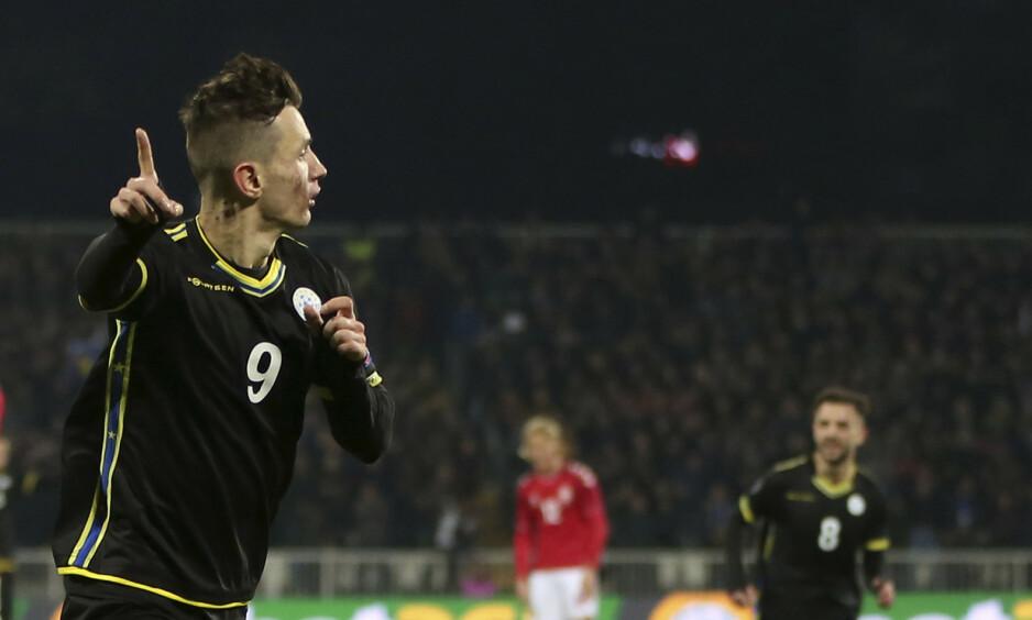 MÅL: Bersant Celina scoret mot Danmark. Foto: NTB scanpix