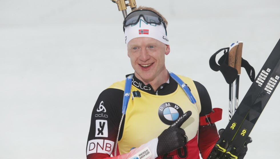VANT: Johannes Thingnes Bø tok sin 14. verdenscupseier for sesongen. Foto: NTB scanpix