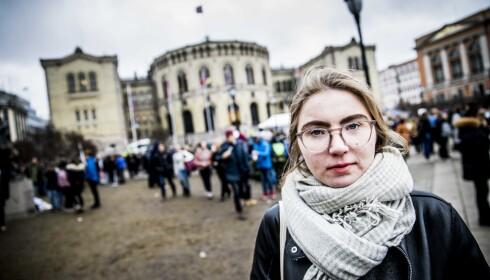 HETSES: Hulda Holtvedt og mange andre klimastreikende ungdommer har fått hard kritikk i forbindelse med demonstrasjonen. Foto: Christian Roth Christensen / Dagbladet