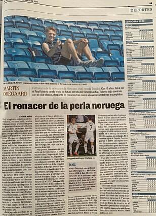 I OVERSKRIFTENE: Slik presenterer El Mundo artikkelen med Martin Ødegaard i lørdagsavisa.