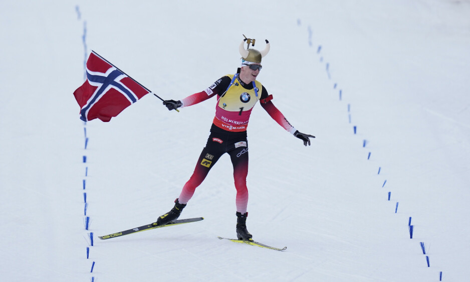 SEIER: Johannes Thingnes Bø vant for tredje dag på rad i Holmenkollen. Foto: NTB scanpix