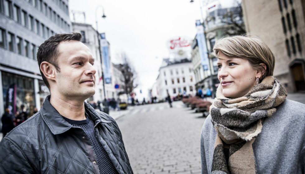 DUELL: Torgeir Knag Fylkesnes (43) og Kari Elisabeth Kaski (31) er i innspurten på et jevnt kappløp om å bli ny nestleder i SV når Snorre Valen gir seg. Avgjørelsen faller lørdag ettermiddag. Foto: Christian Roth Christensen