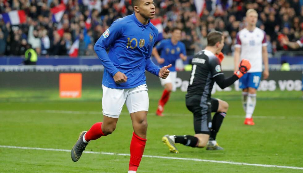 SCORET: Kylian Mbappe for Frankrike. Foto: REUTERS/Charles Platiau