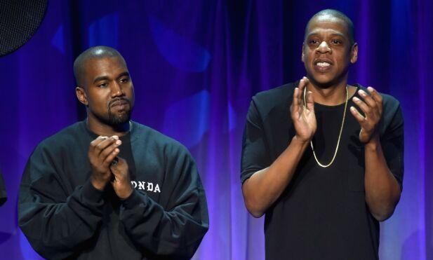 PARTNERE: Deleier i Tidal Kanye West (til venstre) slapp albumet Life of Pablo eksklusivt på Tidal i 2016. Her med Tidal-eier Jay-Z under lanseringen av tjenesten i New York 30. mars 2015. Foto: NTB Scanpix