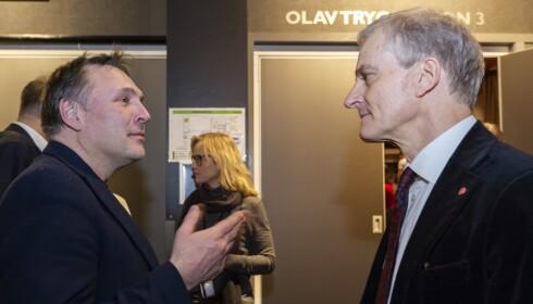 DEBATT OM FAMILIEPERM: Tore O. Sandvik og Jonas Gahr Støre. Foto: Ned Alley/Scanpix