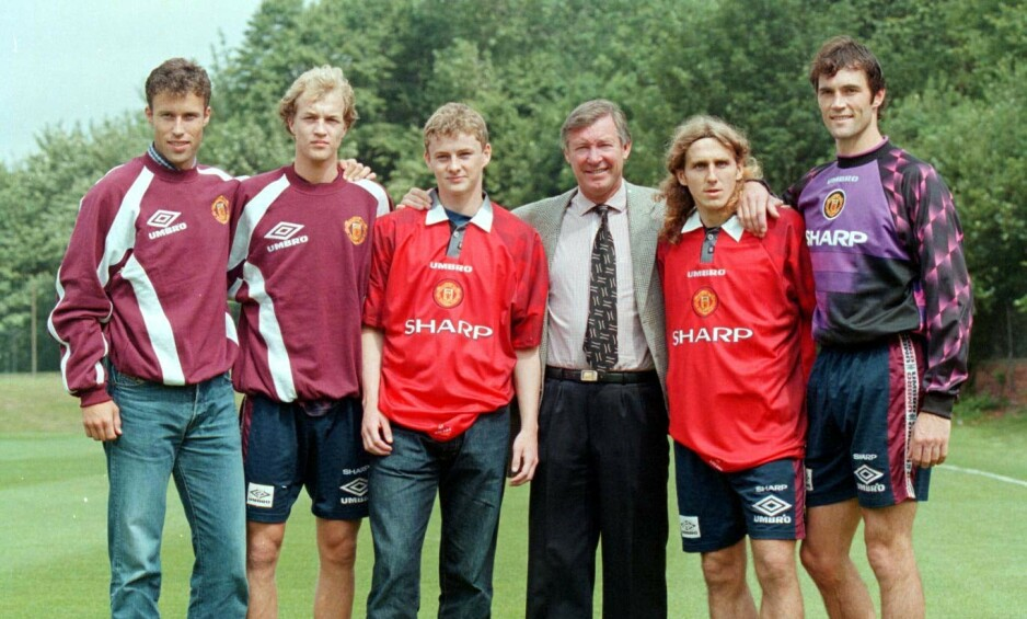 STARTEN: Ole Gunnar Solskjær ble hentet av Sir Alex Ferguson til Manchester sommeren 1996. Her sammen med de andre signeringene Ronny JOhnsen, Jordi Cruyff, Karel Poborsky og Raimond van der Gouw. Foto: NTB scanpix