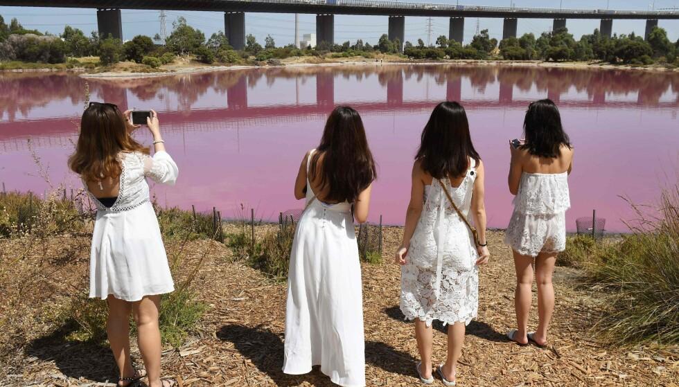 FENOMEN: Siden 2013 har det kommet store mengder turister til innsjøen for å forevige fenomenet. Foto: NTB Scanpix