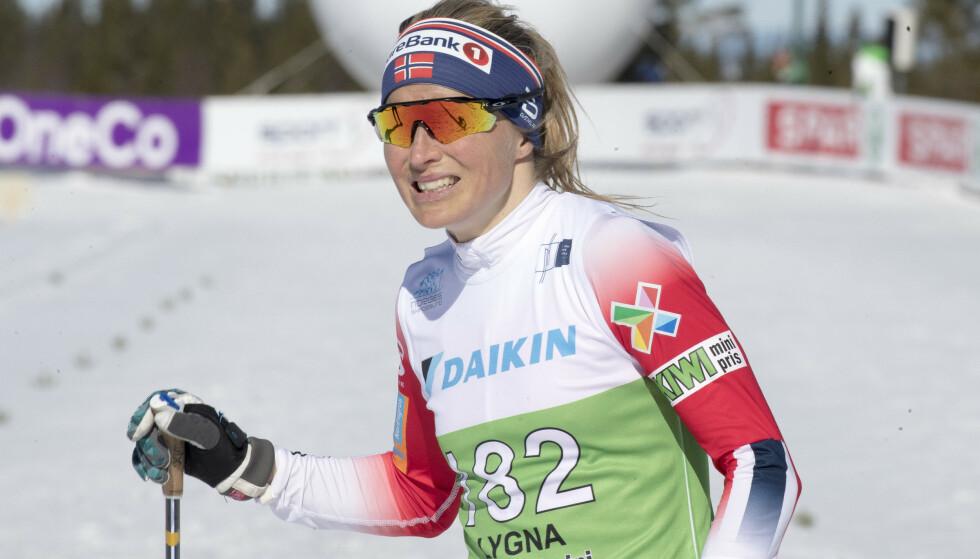 Lygna  20190329. Therese Johaug under 5 km fri teknikk i NM på Lygna. Foto: Terje Pedersen / NTB scanpix
